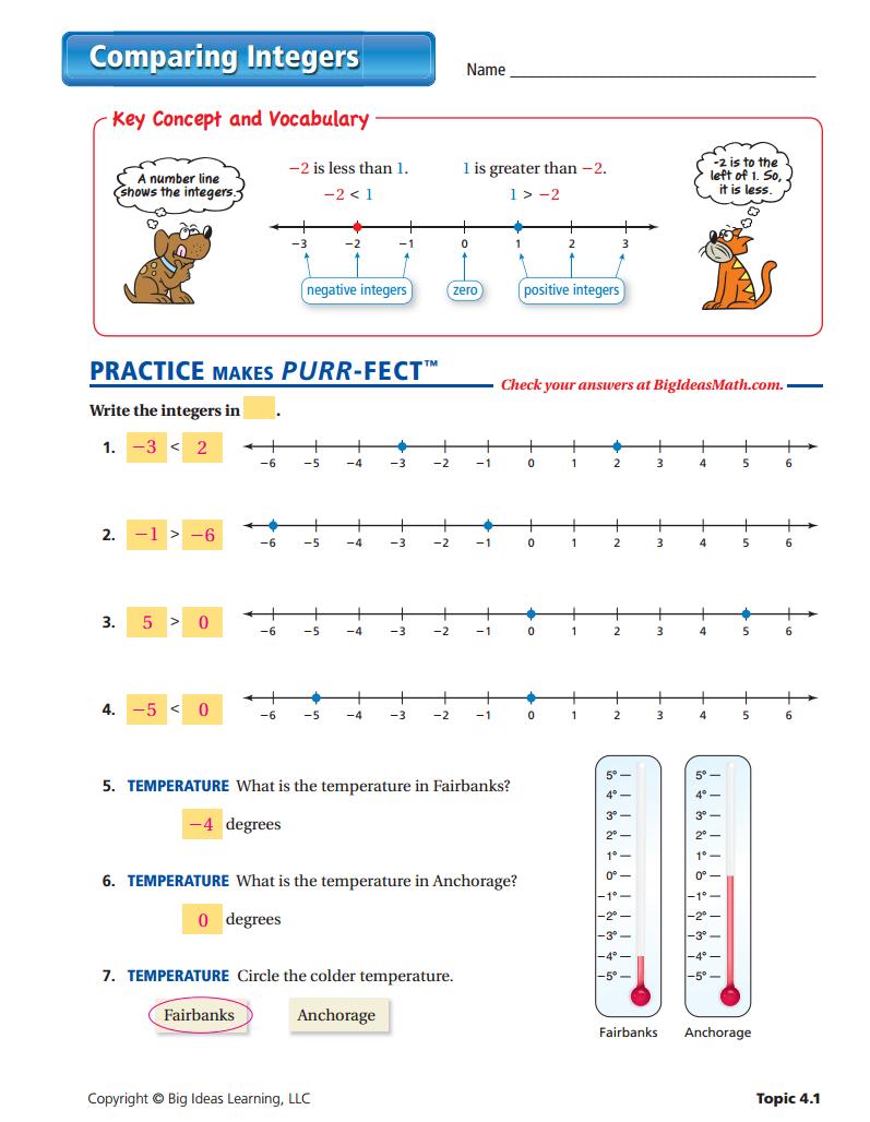 Worksheets Comparing Integers Worksheet comparing integers worksheet answers middle school answers