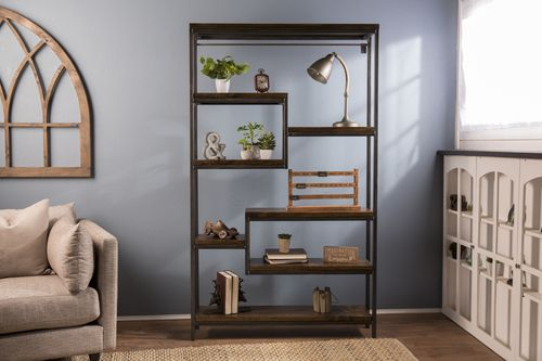Steel And Solid Wood Shelving Unit