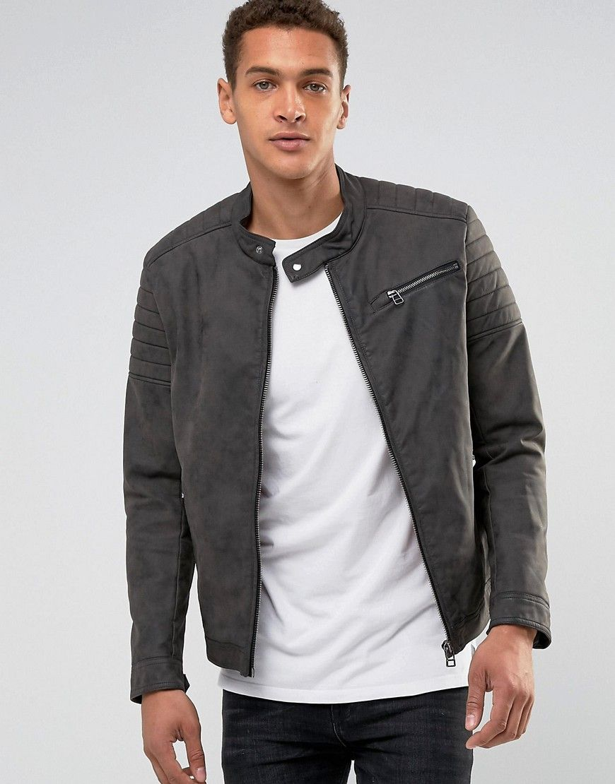 Esprit Faux Leather Biker Jacket Gray Kurtka Muzhskaya Moda Moda [ 1110 x 870 Pixel ]