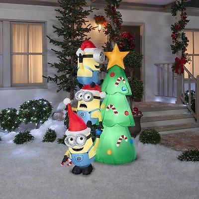 minions christmas tree airblown yard inflatable 6 candy canes decoration nice