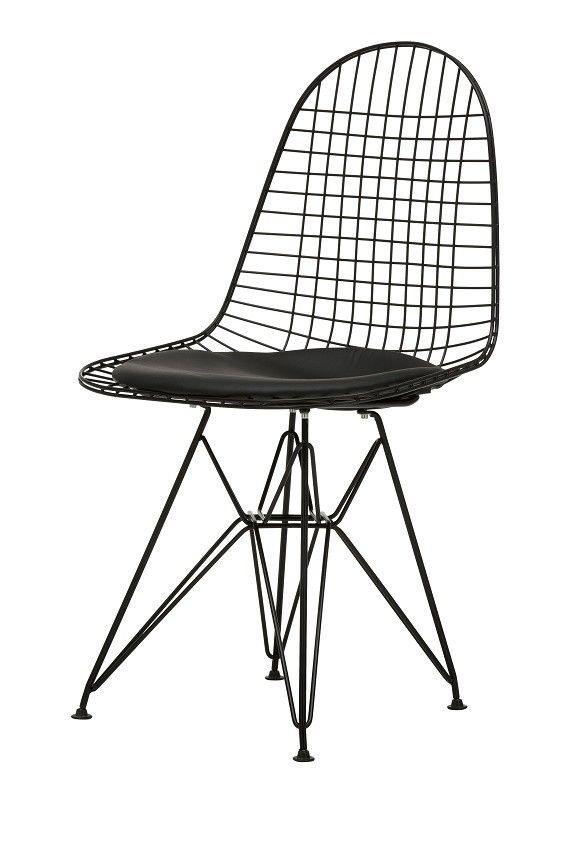 black wire chair replacement cushions for swing replica charles eames the in a powder coat is an elegant and very fashionable