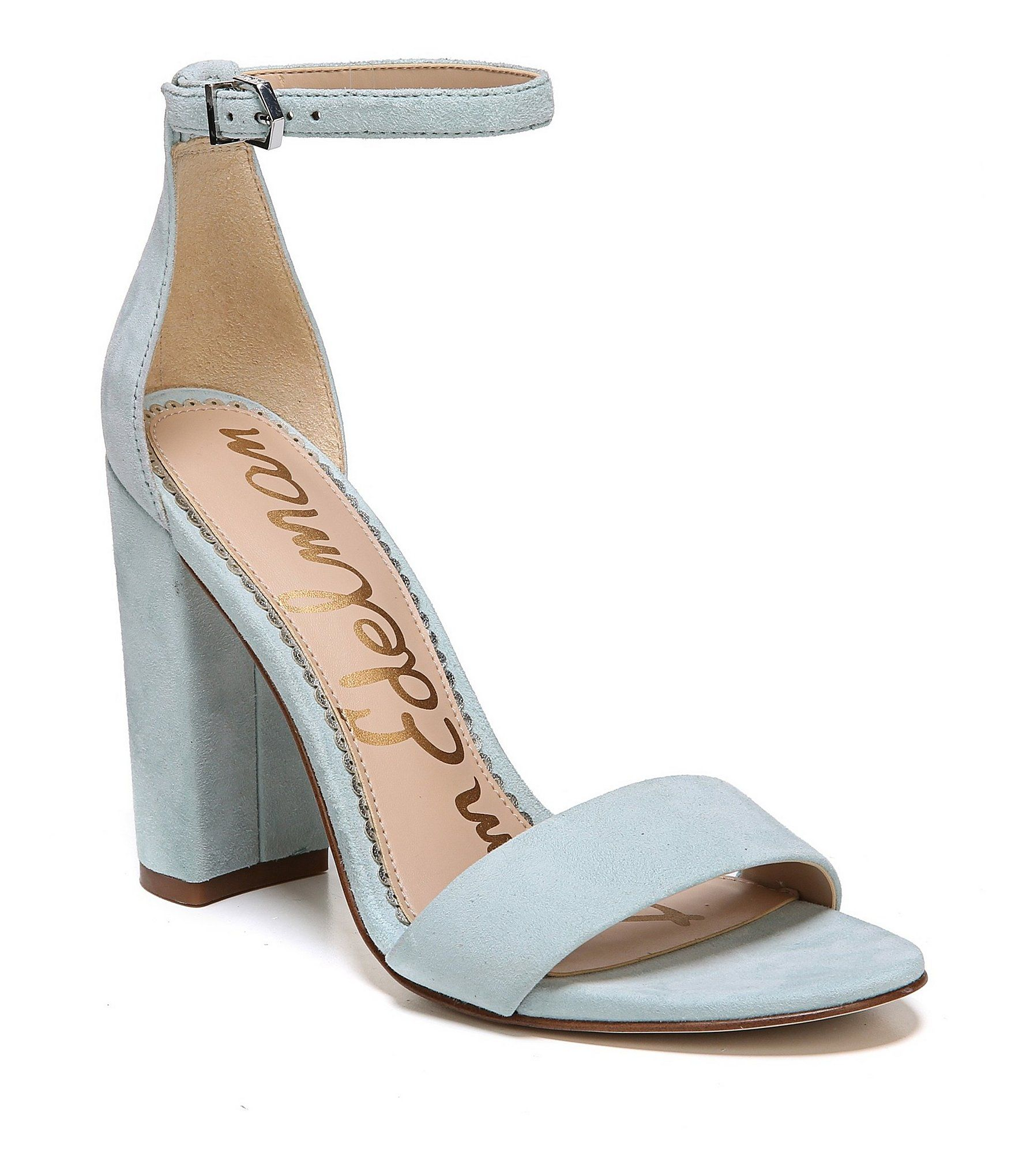 Yaro Suede Ankle Strap Block Heel Dress Sandals lmJju