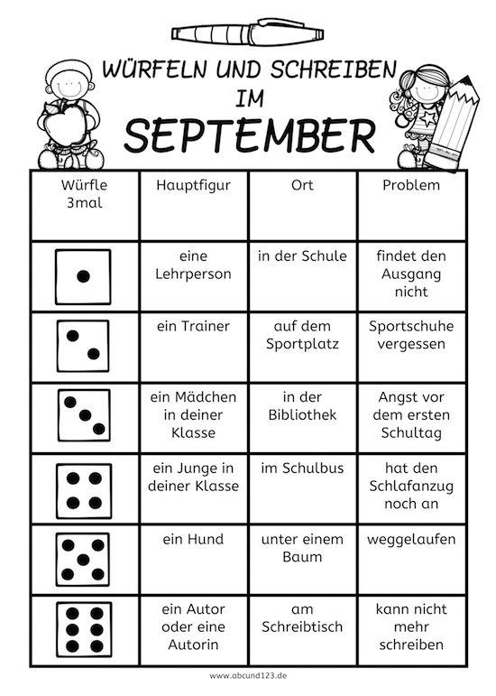 Würfeln und Schreiben im September, AFS-Methode, Arbeitsblatt, DAF ...
