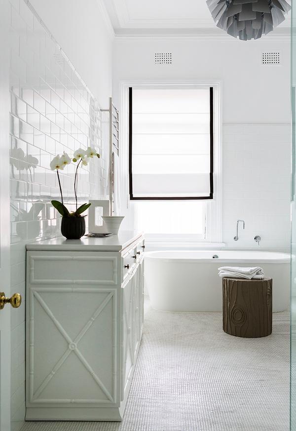 Bamboo vanity detail, tile Brendan Wong Design, Sydney Australia