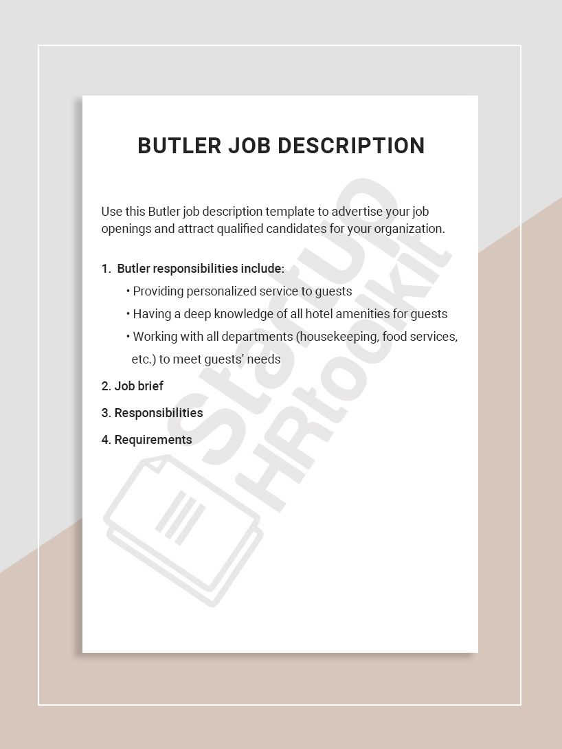 Use This Butler Job Description Template To Advertise Your Job