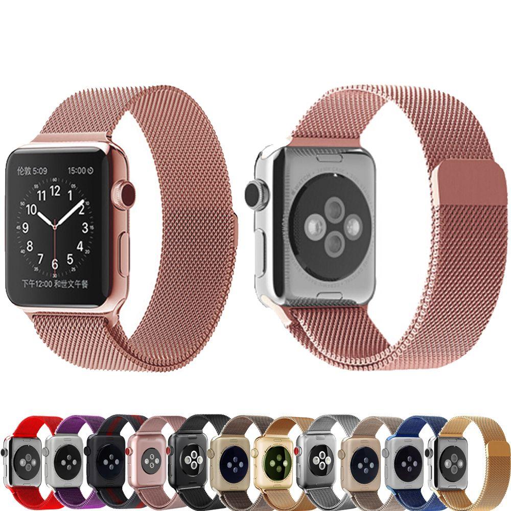 14049a0d6eb Comprar Milanese laço para apple iwatch watch band strap 42mm 38mm série  3 2 1 banda Inoxidável Pulseira de metal de aço correia de pulso pulseira