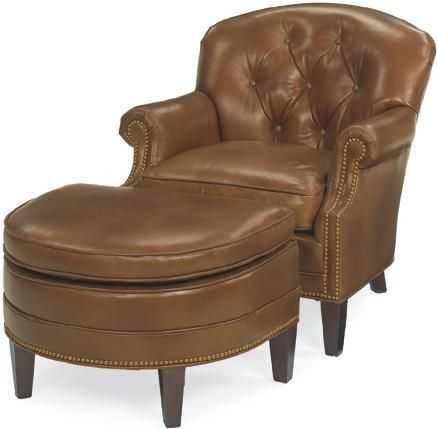 Saddle Leather Chair Half Moon Ottoman Custom Made Furnishings