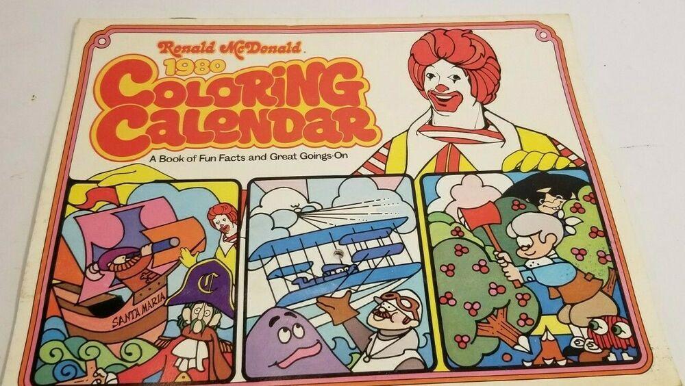 Details About Vintage Ronald Mcdonald 1981 Coloring