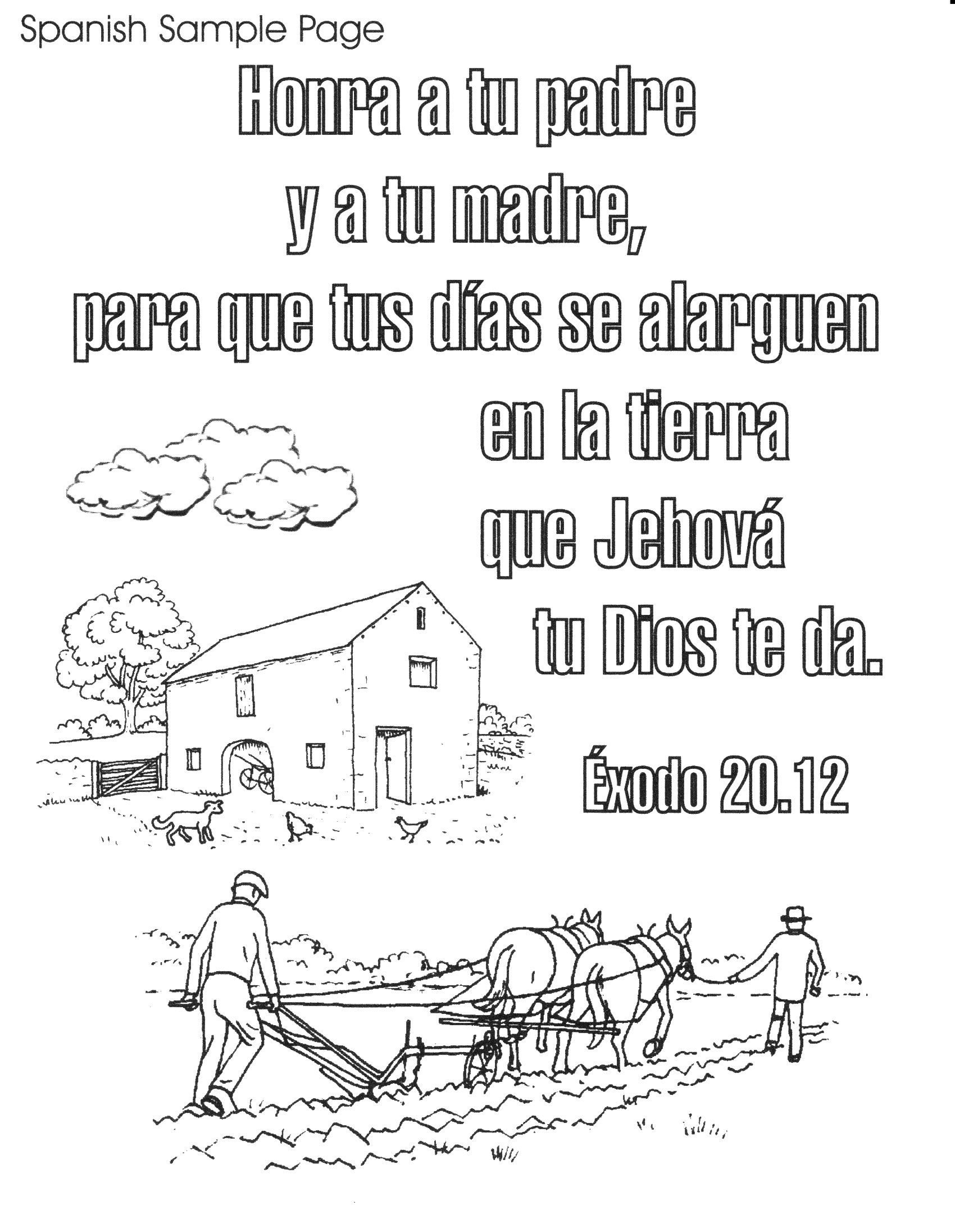 Sunday School Book Cover Page ~ Bible spanish coloring pages free printable