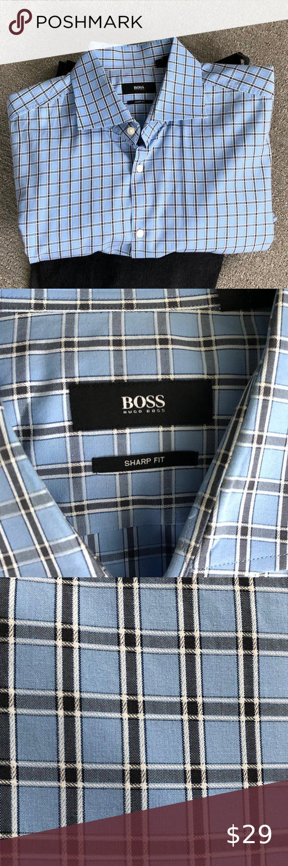 """Men/'s Blue//White Check Long Sleeved Shirt by /'Dimensions/' in size 17.5/"""""""