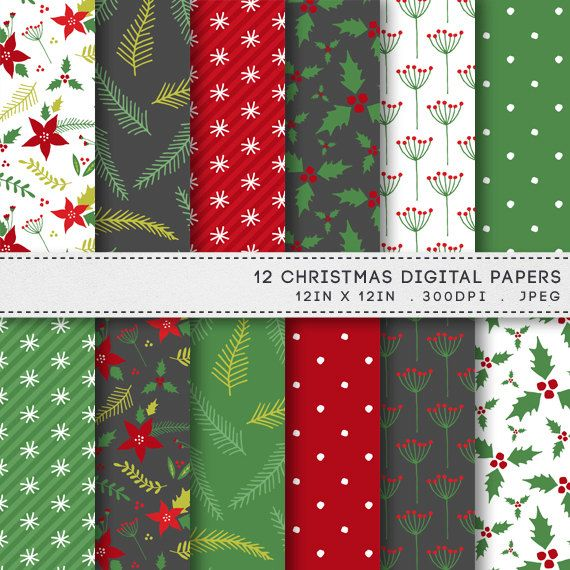 Christmas Digital Paper Printable Paper Pack Digital Papers Printable Red & Green Holiday Patterns by AzmariDigitals