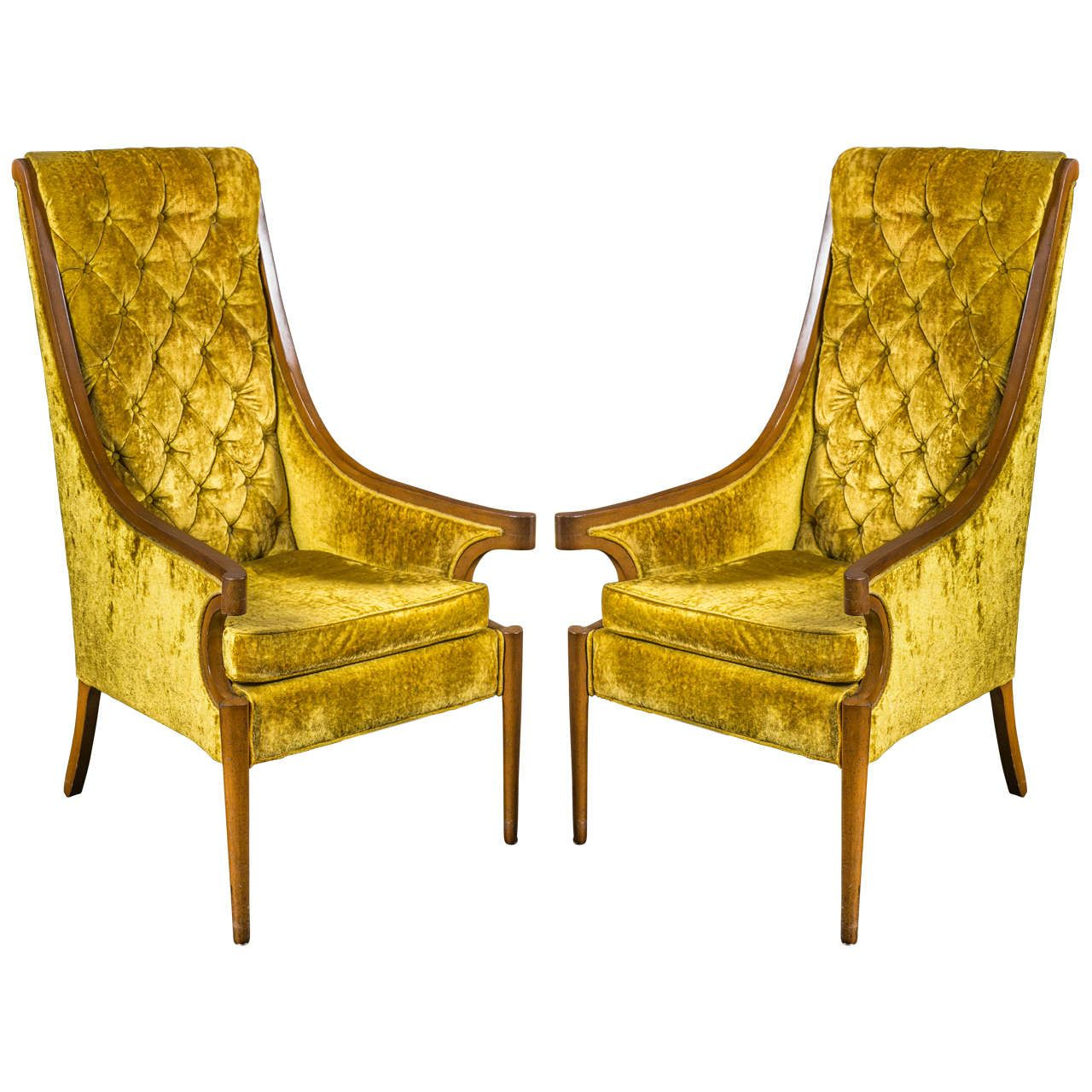 Pair Of Hollywood Regency High Back Armchairs Ajs Interiors