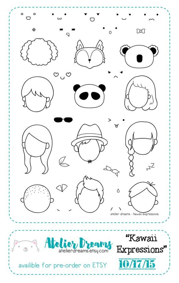 ea6b45d32eb12 Retiring AD-008 KAWAII EXPRESSIONS - Planner Stamps (Photopolymer ...