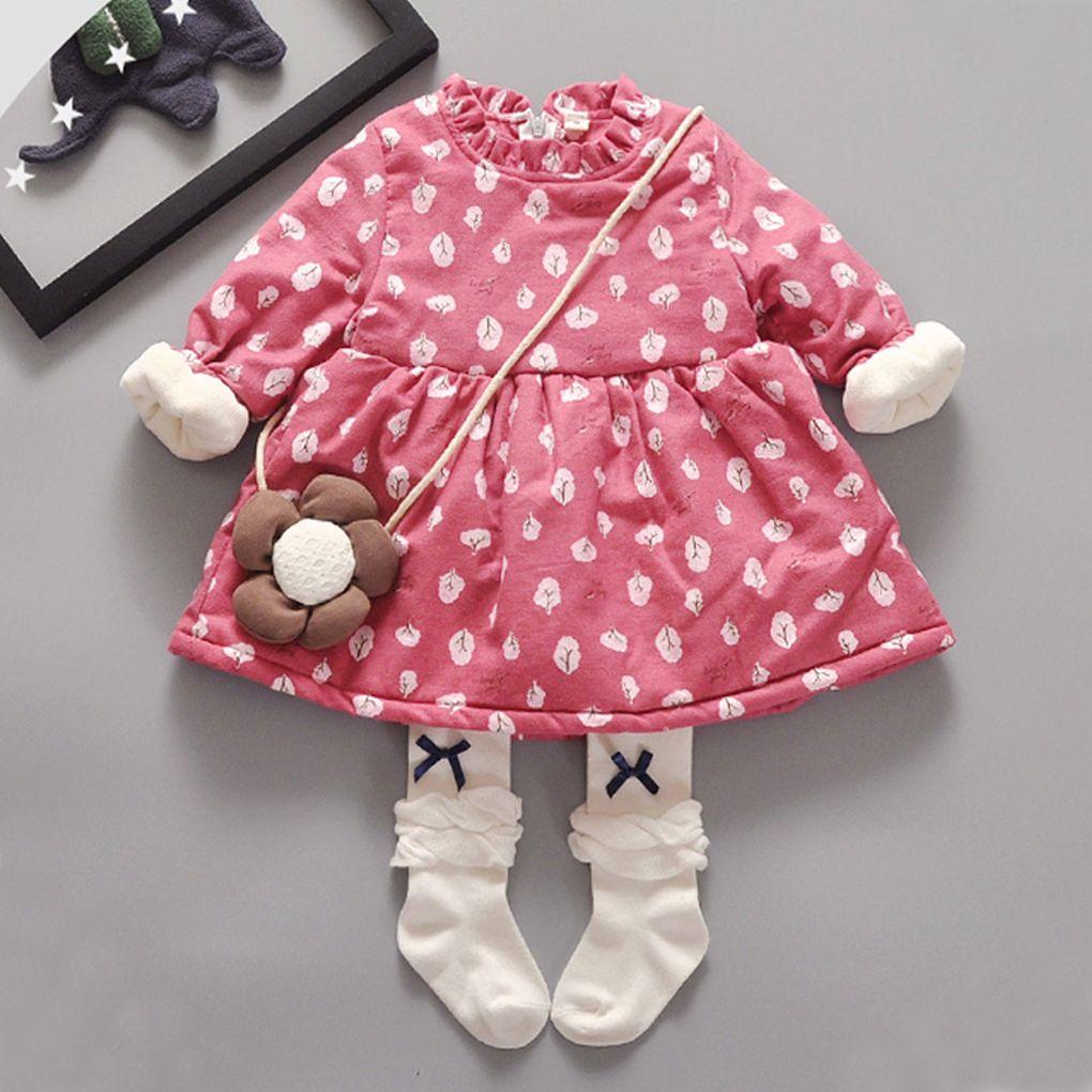 107ceef5b Find More Dresses Information about Kids Winter Dresses for Toddler Girls  Thick Warm Fleece Floral Print Long Sleeve Girl Dress Fashion Children Girls  ...