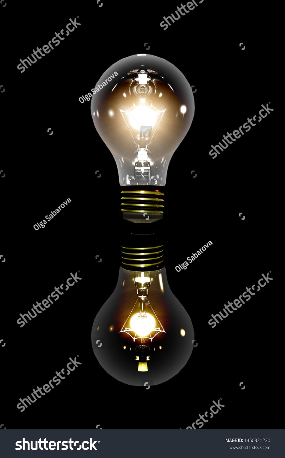 Realistic Light Bulb On The Black Background With Reflection Lamp Light In The Dark Electric Bulb Glowing Light I In 2020 With Images Electric Bulb Light Bulb Light In The Dark