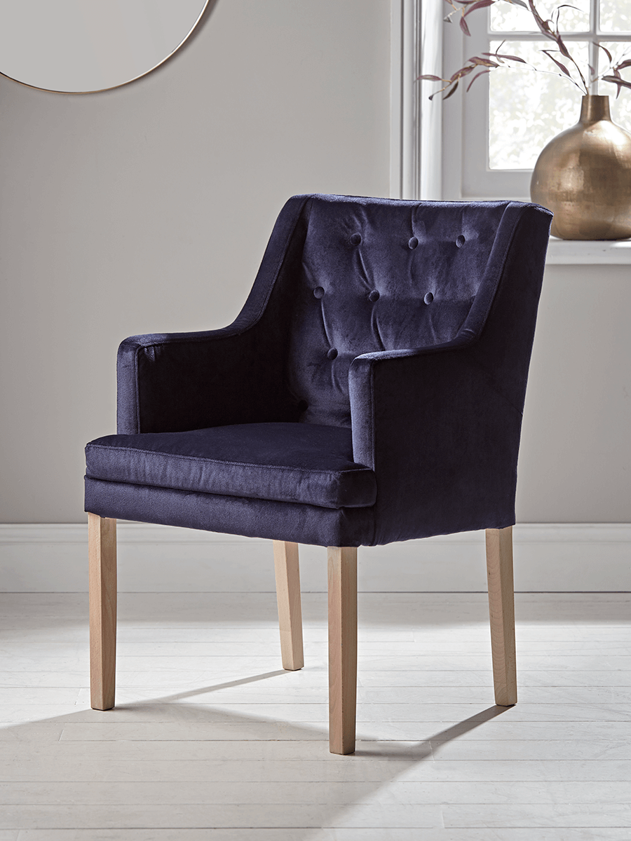 NEW Lisbet Occasional Chair Navy Velvet Occasional