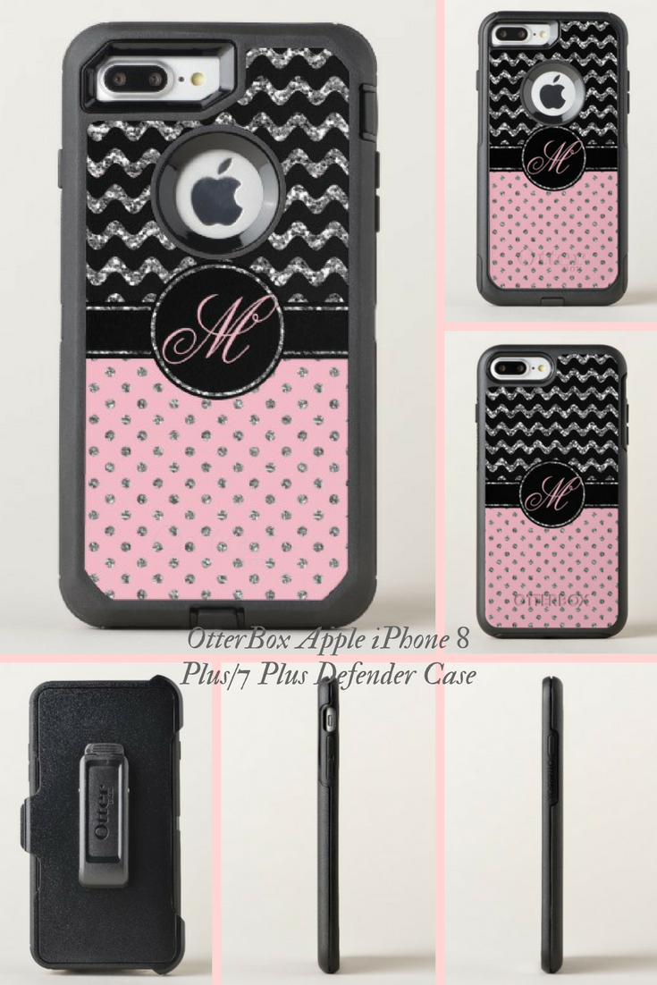 best Rose Silver Glitter Black Chevron Monogrammed OtterBox iPhone ... 14adf9d7f0