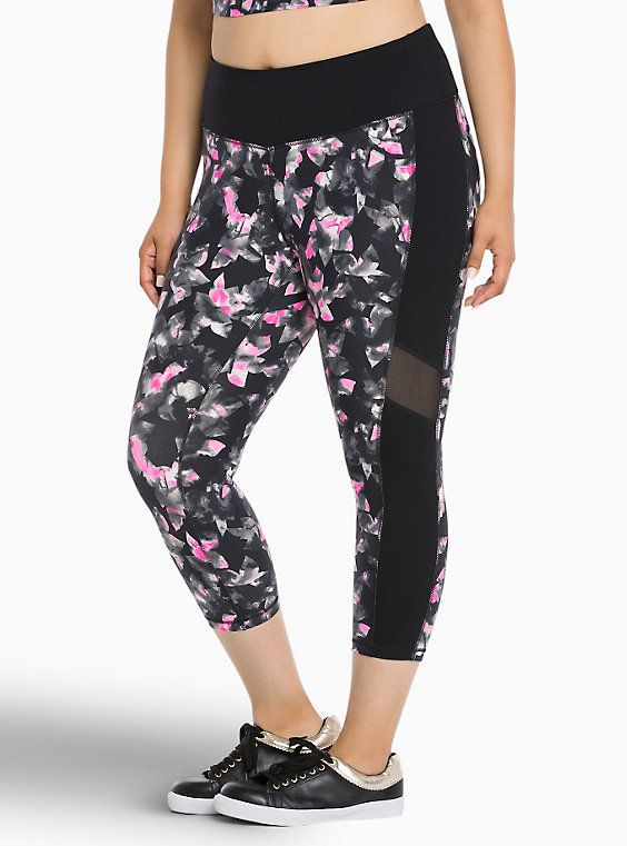 Torrid Active - Floral Print Mesh Cropped Leggings