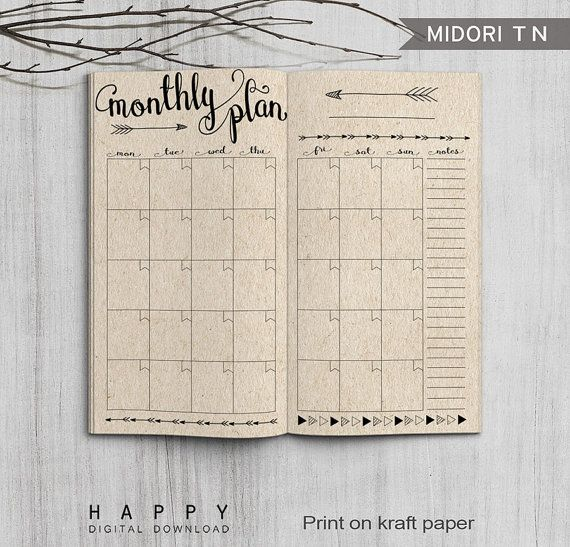 Printable Monthly Planner Inserts, Midori Monthly Planner, Printable