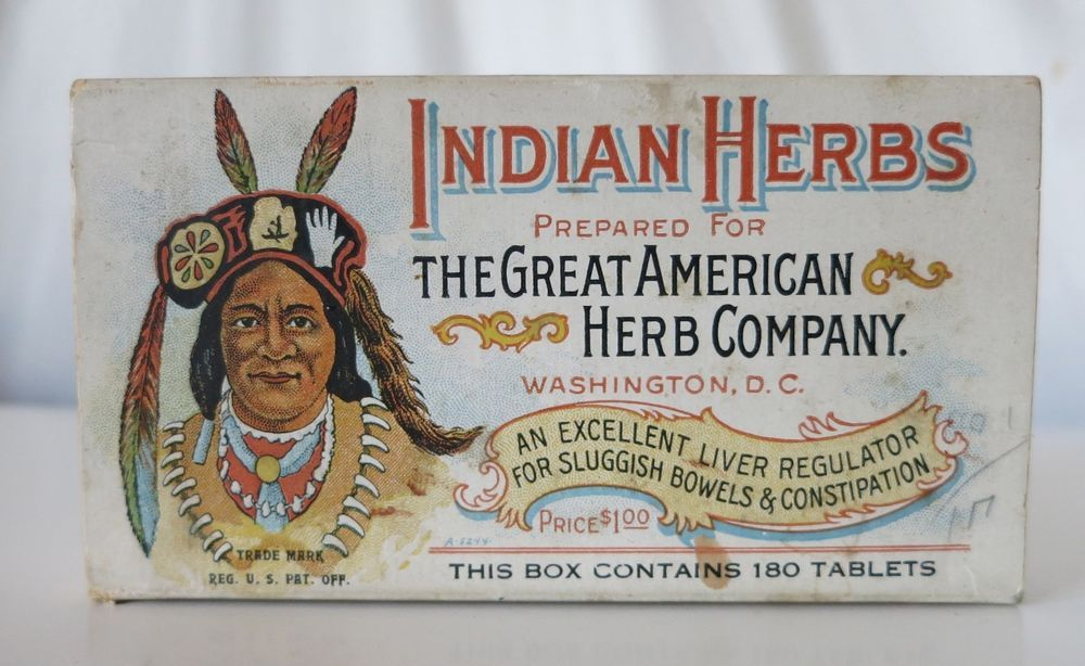 THE GREAT AMERICAN HERB COMPANY INDIAN HERBS VINTAGE BOX, WASHINGTON