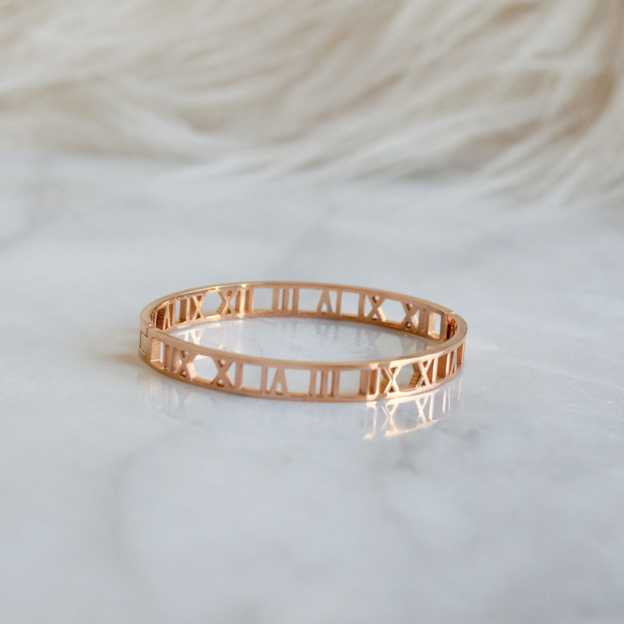 Thin Roman Bangle Rose Gold Pearls Diamonds Amp Gold In