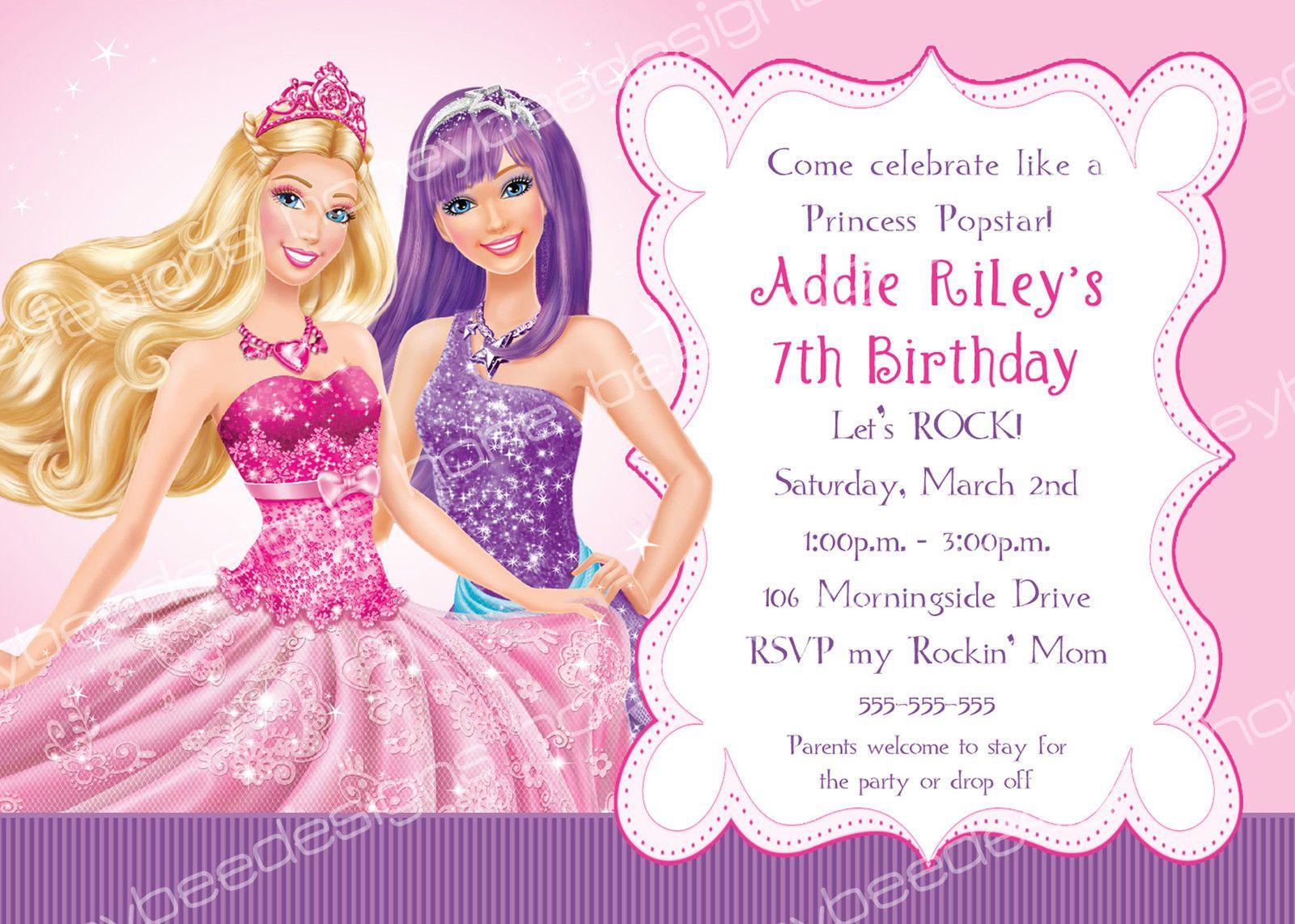 Barbie Princess Popstar Birthday Party Invitations