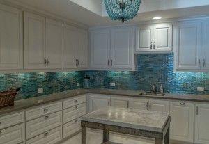 Tile Backsplash Kitchen Ideas Marine Color White Cabinets Gray Countertop Beach House Kitchens Beach Kitchens Kitchen Remodel