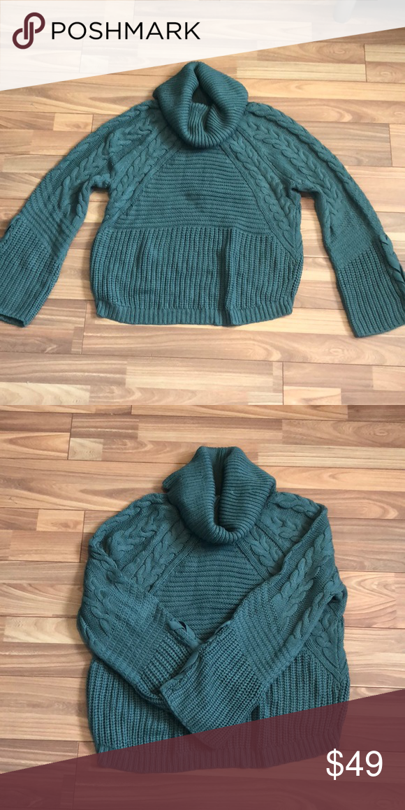 Cowl Neck Cable Knit Sweater Cowl Neck Long Lace Up Flare Sleeve Cable Knit Body Cotton Acrylic Express Sweater Knitted Sweaters Cable Knit Sweaters Cable Knit