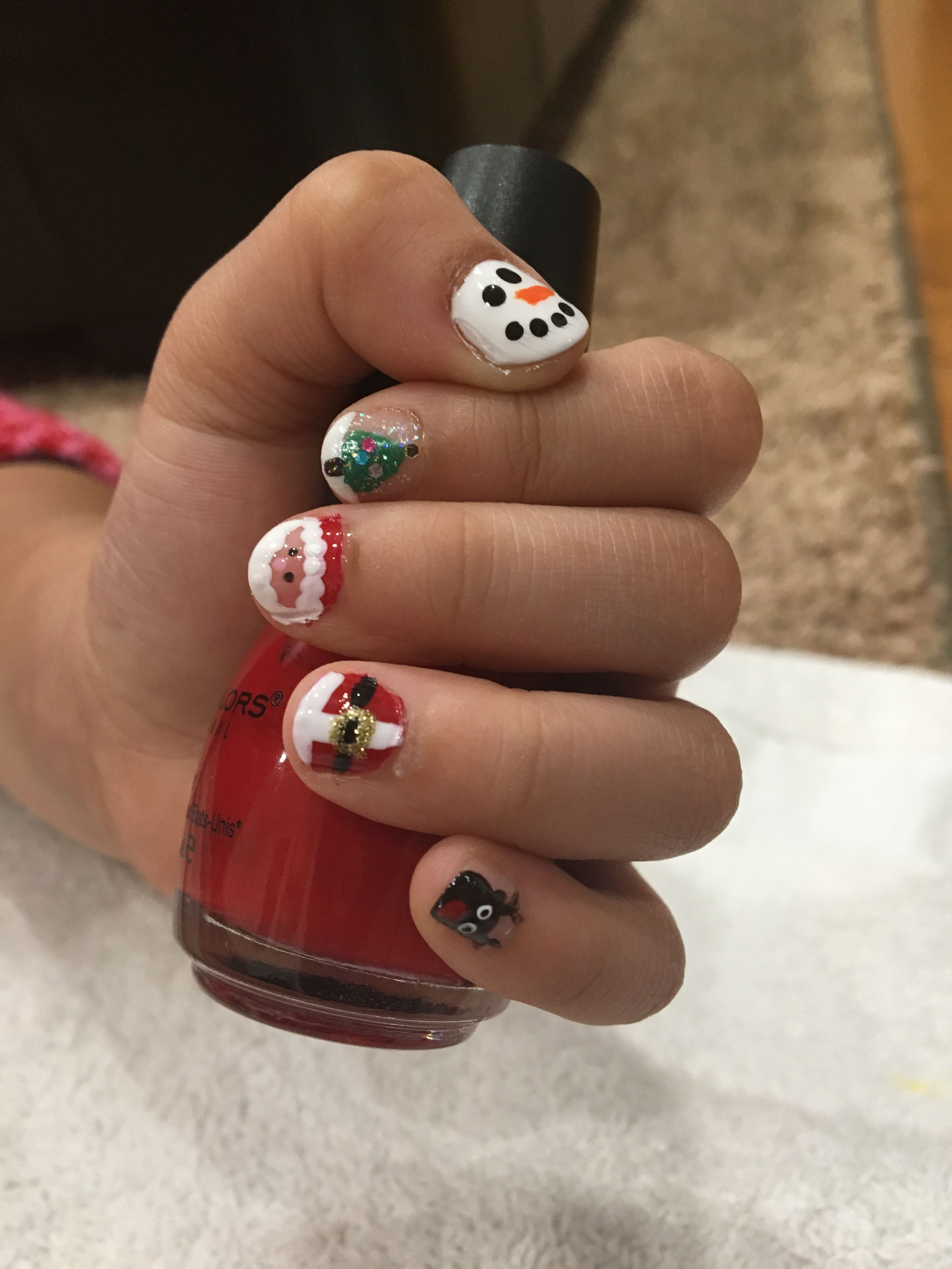 Toddler Nail Art For Arlynn By Mmmy Holiday Nails Snowman