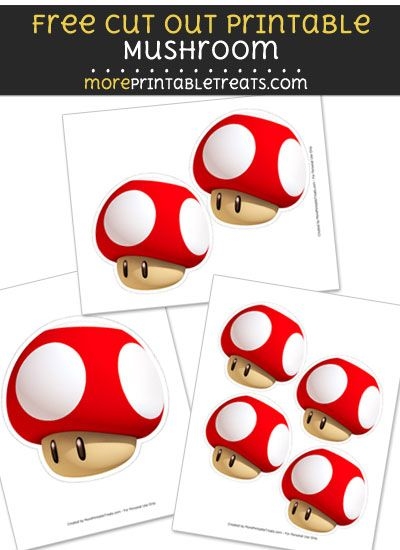 Free Mushroom Cut Out Printable with Dashed Lines Super Mario
