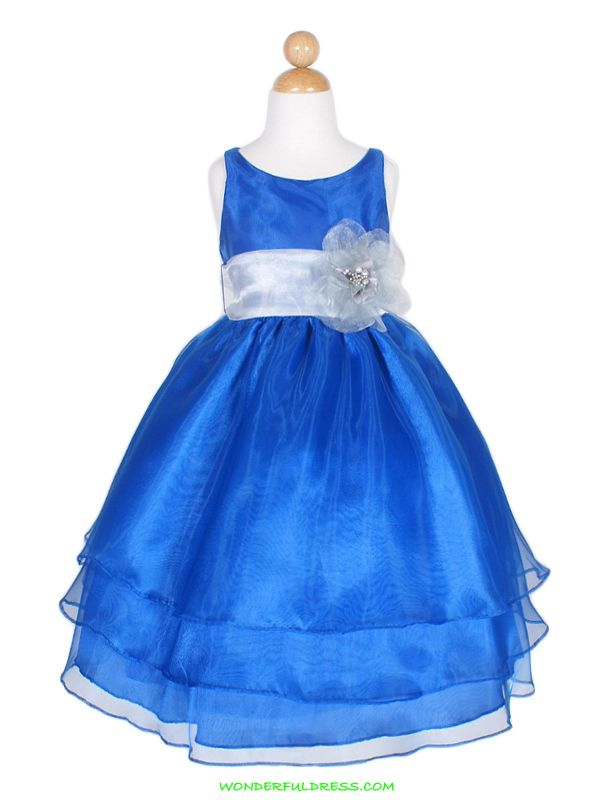Blue Flower Girl Dress - Qi Dress