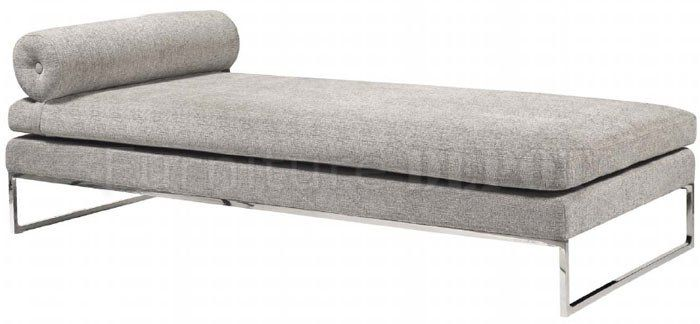 Grey Fabric Modern Daybed Lounger w/Stainless Steel Frame   SC ...