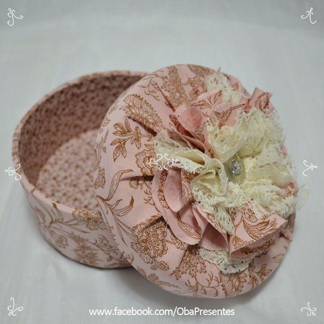 #caixa #mdf #romântico #flor tecido #presente www.obapresentes.com.br