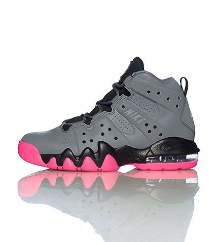 NIKE Lace front closure Contrasting accent colors Padded tongue with logo  Max bubble heel Charles Barkley