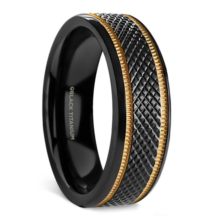 Black mamba titanium mens wedding ring with gold grooves