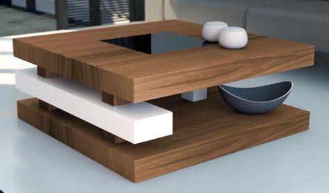 Mia home mesa baja de salon marron o blanca elevable - Centre de table design ...