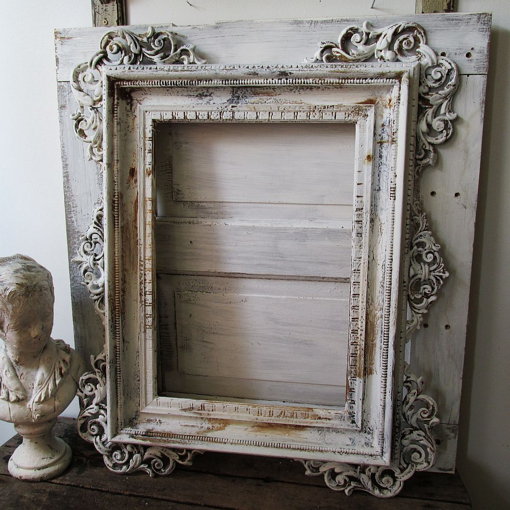 Distressed ornate wood frame large French Nordic inspired painted ...