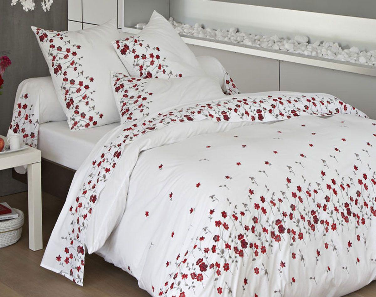 linge de lit percale brodée fleurs becquet | textil bed linge de lit