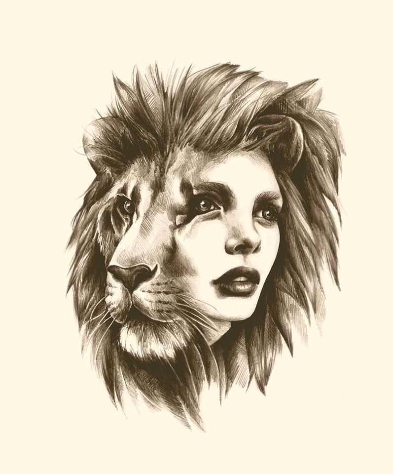 Lion Woman Face Great Tattoo Idea Drawing By Sarah Mccloskey