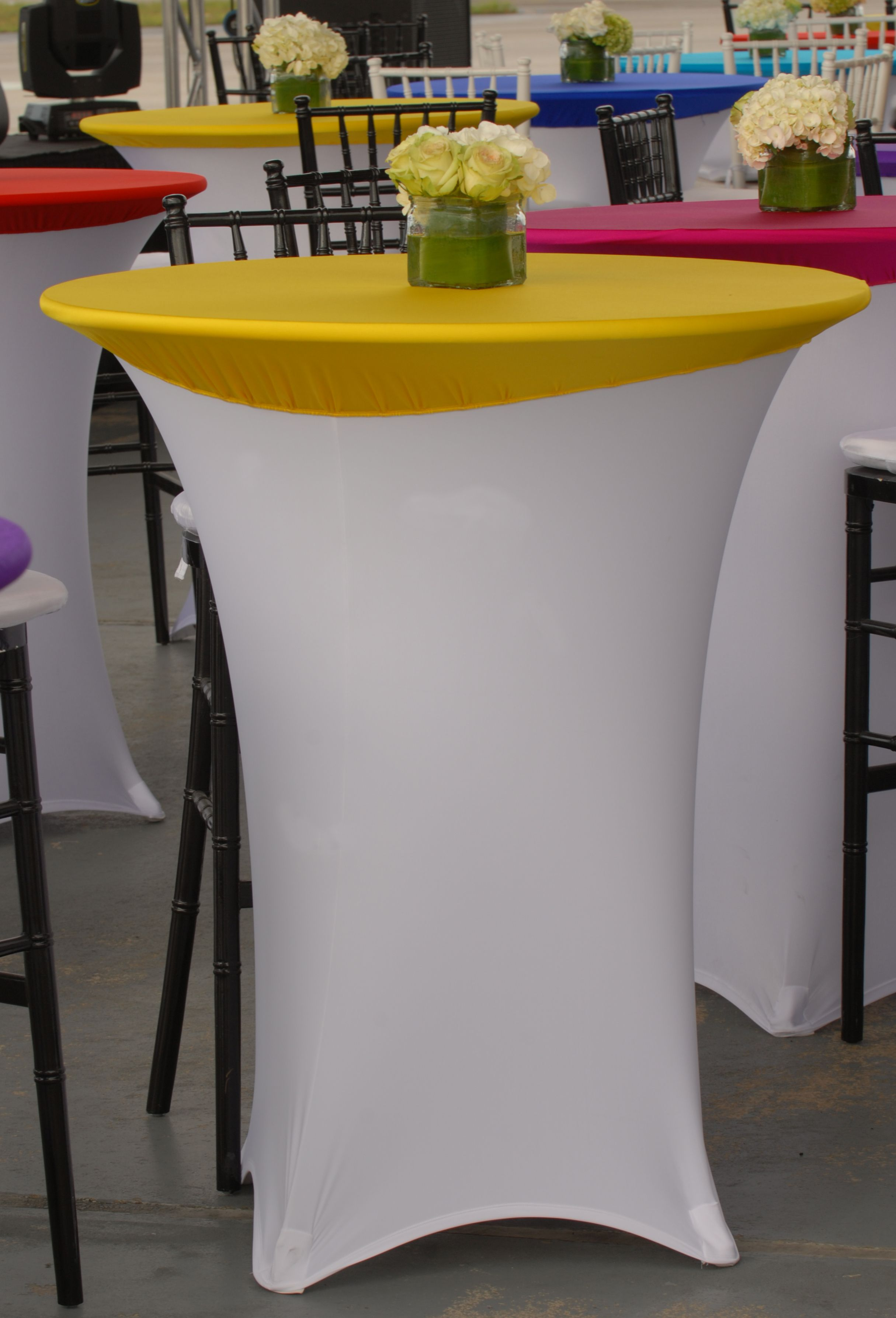 Beautiful White Spandex Highboy Table Cover With Yellow Spandex Table Topper From Premier Table Linens Highbo Cocktail Table Decor Table Covers Stylish Tables