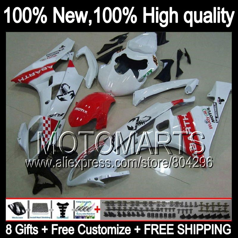 8gift Body For Yamaha Scorpion Yzfr6 Yzf R6 06 07 Yzf R6 Q96255 Yzf 600 06 07 Yzf R 6 Hot Red White Yzf600 2006 2007 Fairi Yzfr6 Ornamental Mouldings Body Kit