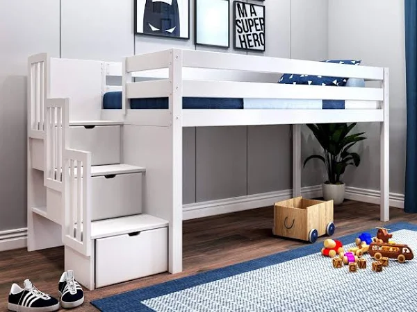 Jackpot Contemporary Low Loft Twin Bed With Stairway White Low