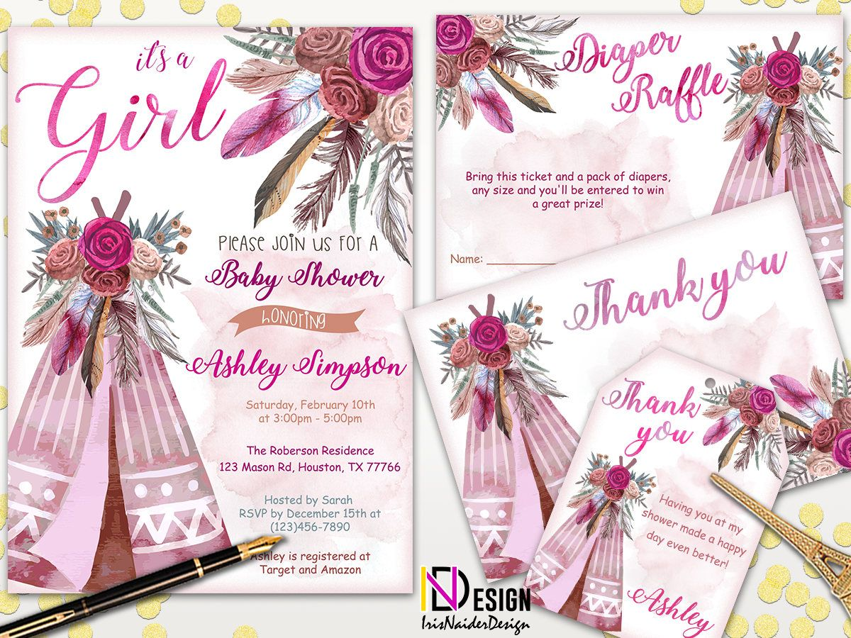 tribal baby shower invitation girl, Aztec baby shower invitation ...