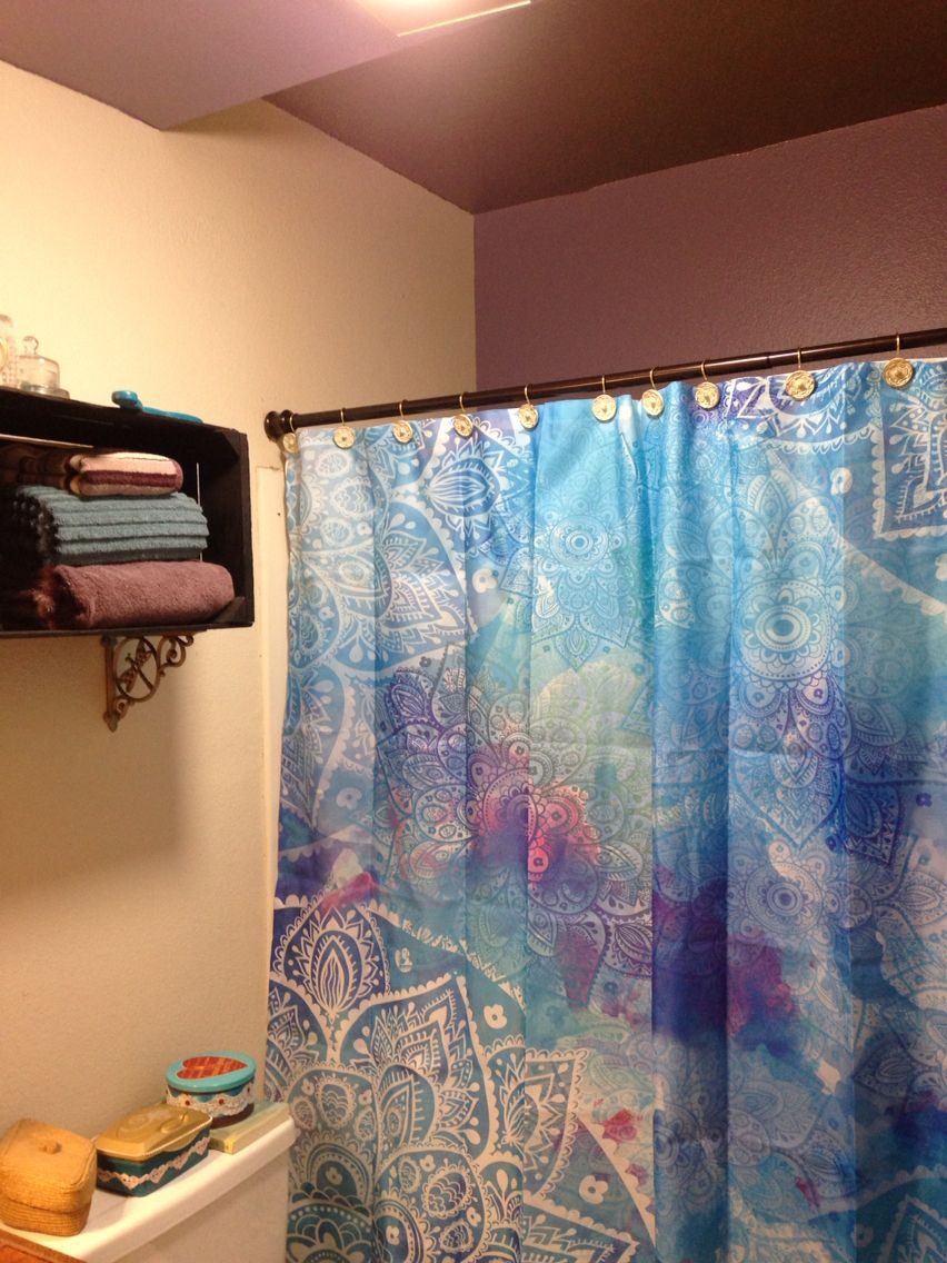 Batik Shower Curtain In Purple And Teal Bathroom Just Jenn Home