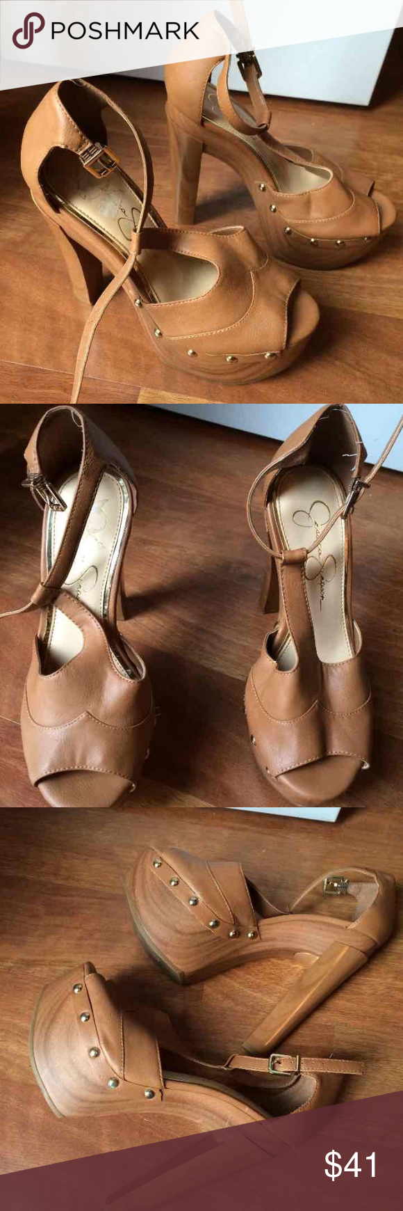 ❗️PRICE CUT❗️JESSICA SIMPSON HEELS *cheaperonmerc Pretty tall not sure of the inches maybe about 4 inches. Normal wear, no extreme damage. Only worn once.    *** also for sale on mercarri for less *** Jessica Simpson Shoes Heels