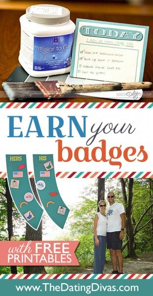 Earn a badge for each mini-date you and your spouse enjoy together! www.TheDatingDivas.com #dateideas #uniquedatenightthemes #creativedateideas