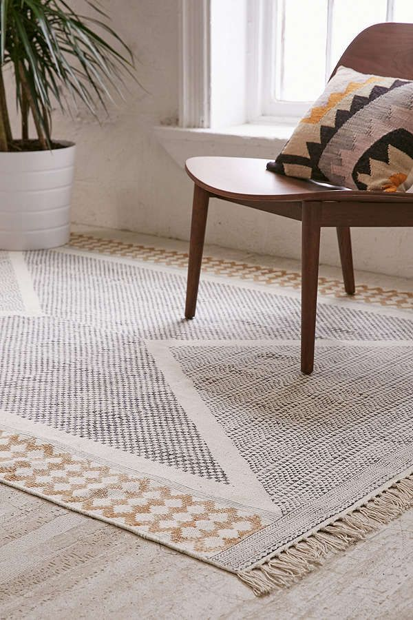 Calisa Block Printed Cozy Cotton Rug Topped With A Geo