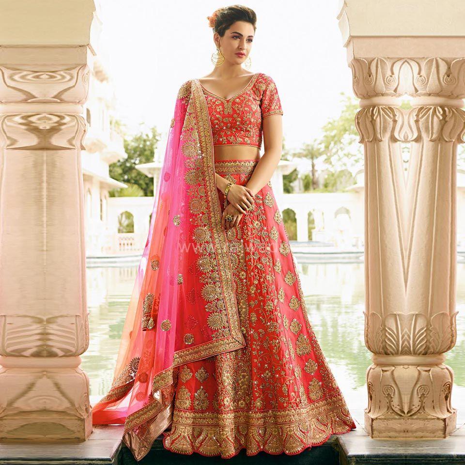 93256e5ee6 Bridal Lehenga Choli in Hot Pink #rajwadi #Lehengacholi #bridal #lehengas  #embroidered #FeelRoyal #rajwadibride