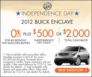 Independence Day Alpine Buick Gmc 2012 Buick Enclave 500 Or