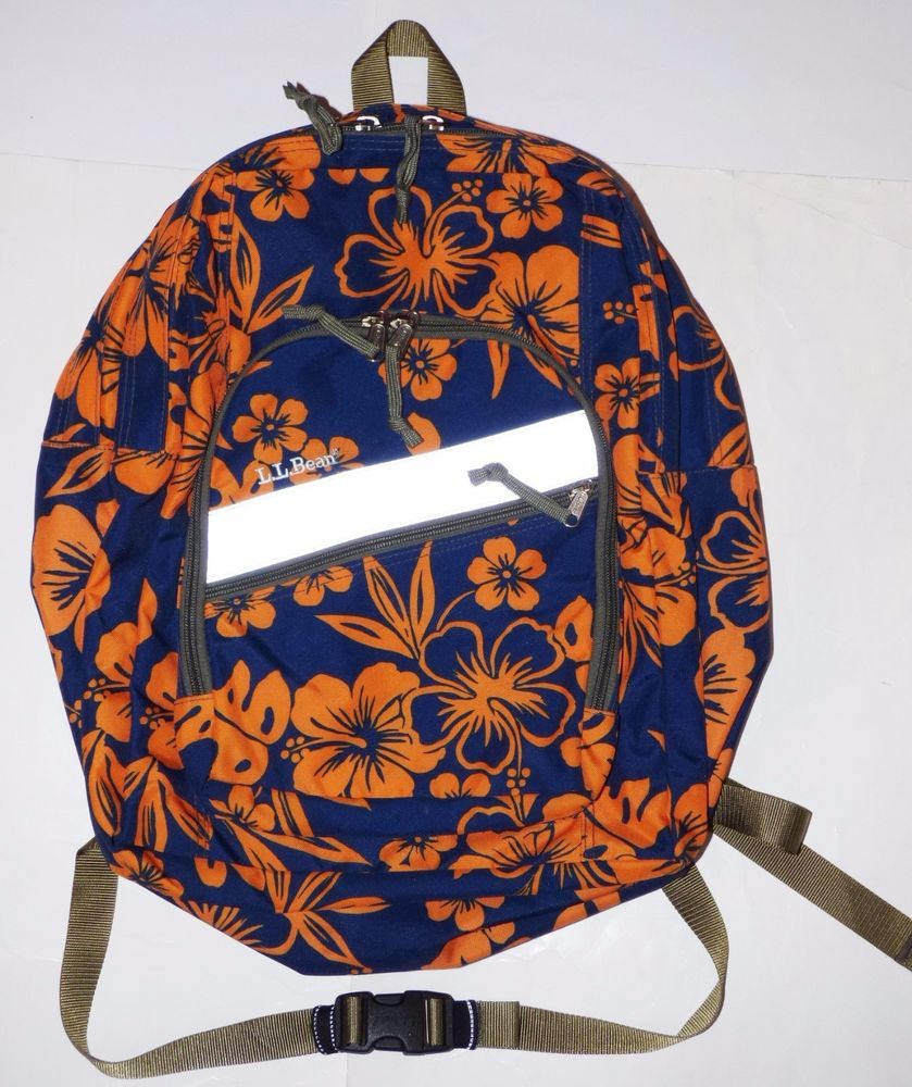 Ll Bean Navy Blueorange Tropical Hibiscus Floral Deluxe Kids